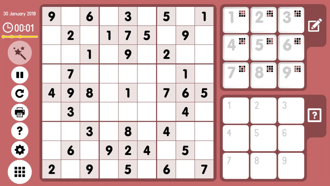 Level 2018-01-30. Online Sudoku