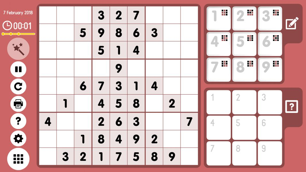 Level 2018-02-07. Online Sudoku