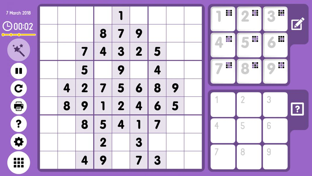 Level 2018-03-07. Online Sudoku