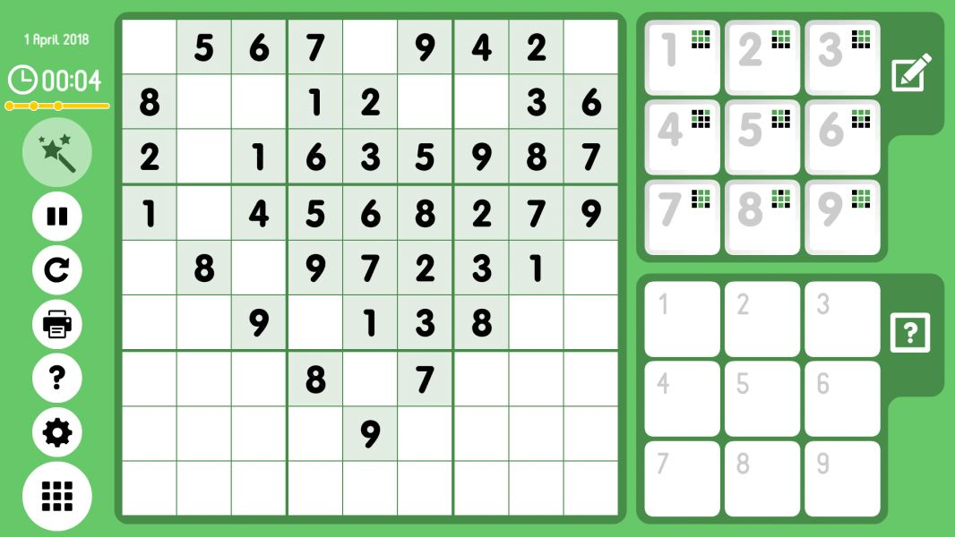Level 2018-04-01. Online Sudoku