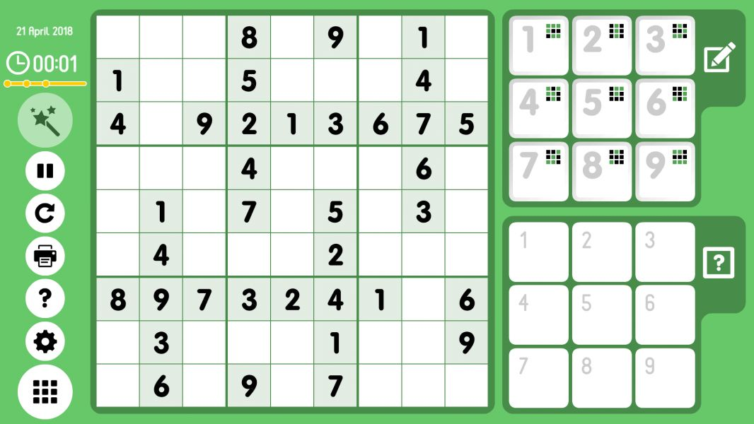 Level 2018-04-21. Online Sudoku