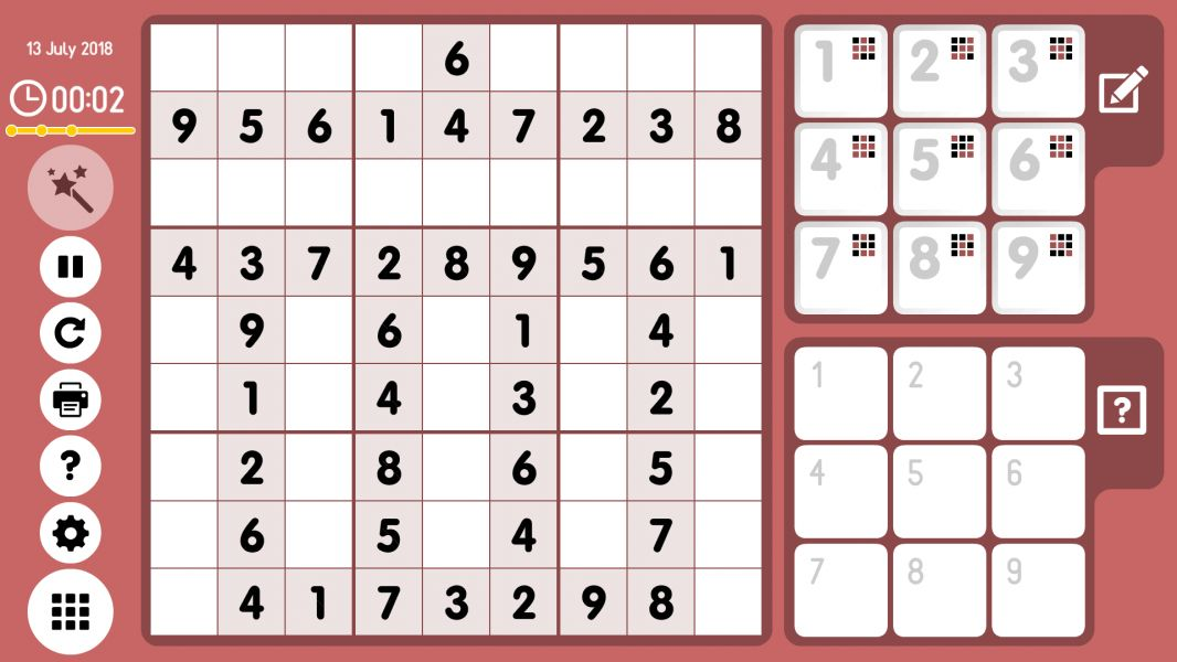 Level 2018-07-13. Online Sudoku