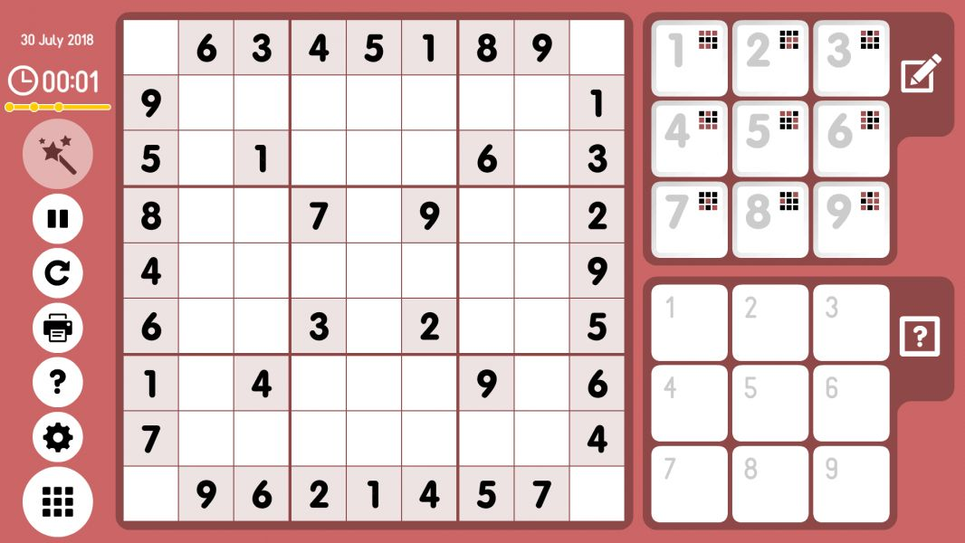 Level 2018-07-30. Online Sudoku