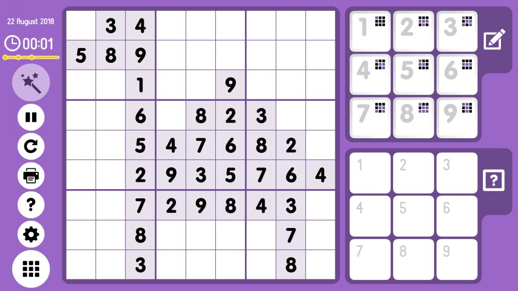 Level 2018-08-22. Online Sudoku