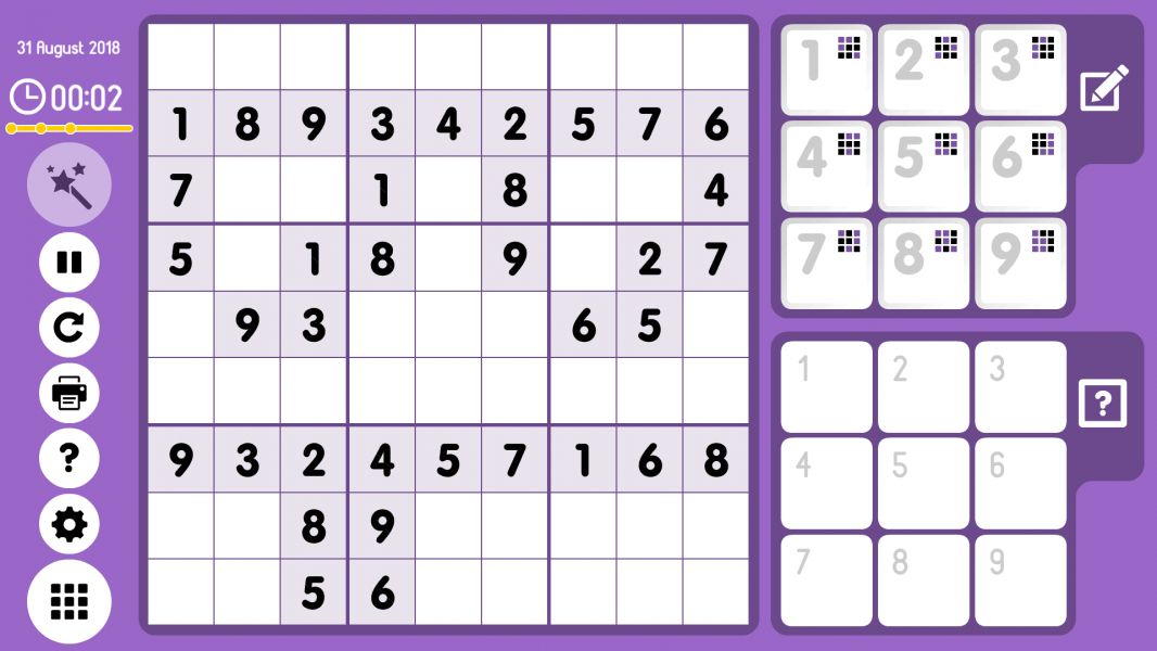 Level 2018-08-31. Online Sudoku