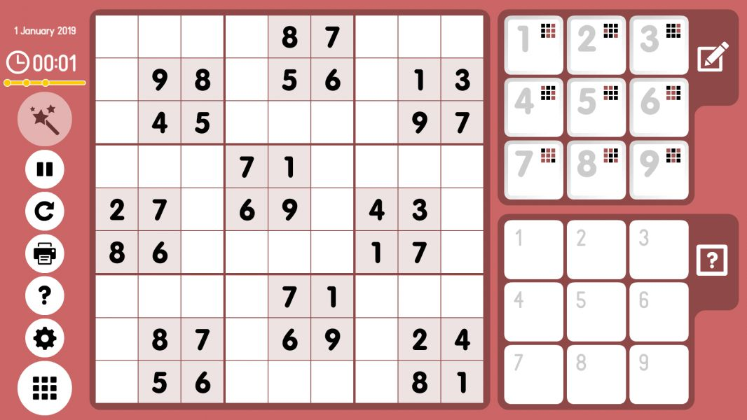 Level 2019-01-01. Online Sudoku