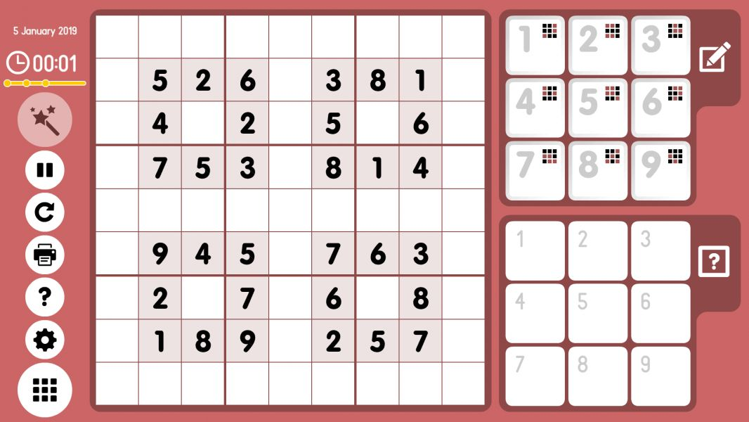 Level 2019-01-05. Online Sudoku