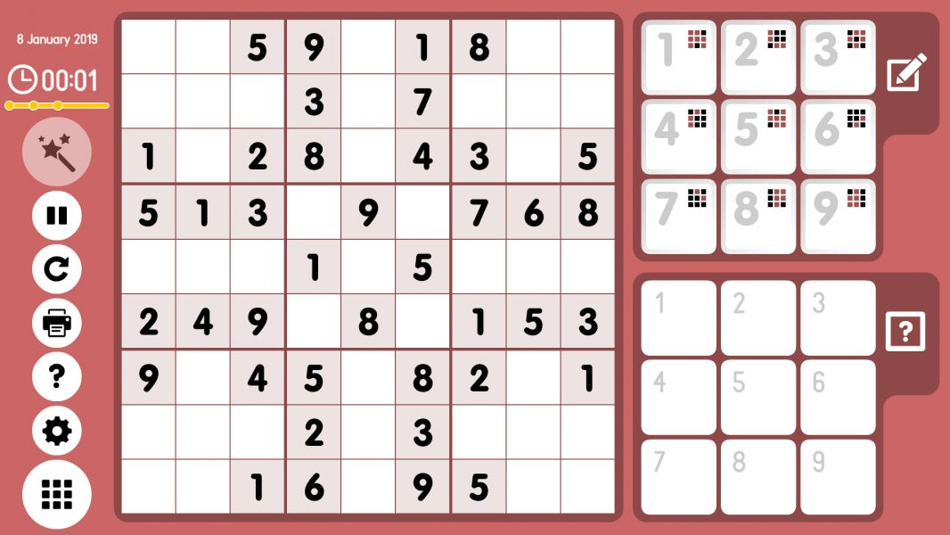 Level 2019-01-08. Online Sudoku