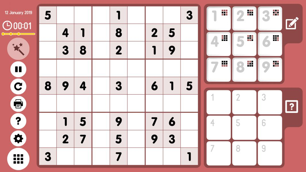 Level 2019-01-12. Online Sudoku