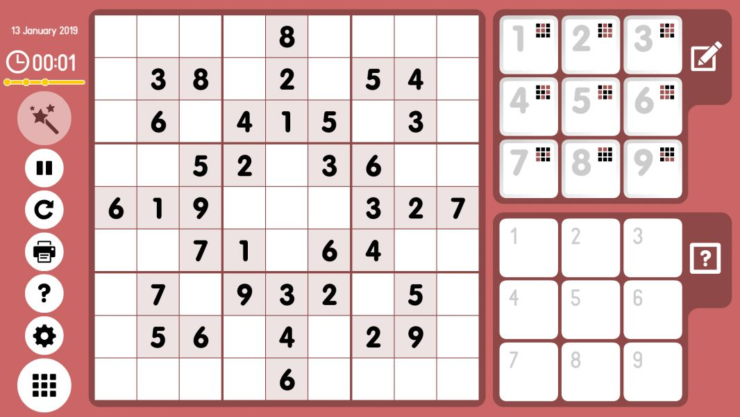 Level 2019-01-13. Online Sudoku