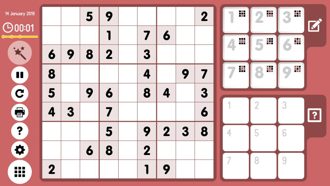 Level 2019-01-14. Online Sudoku