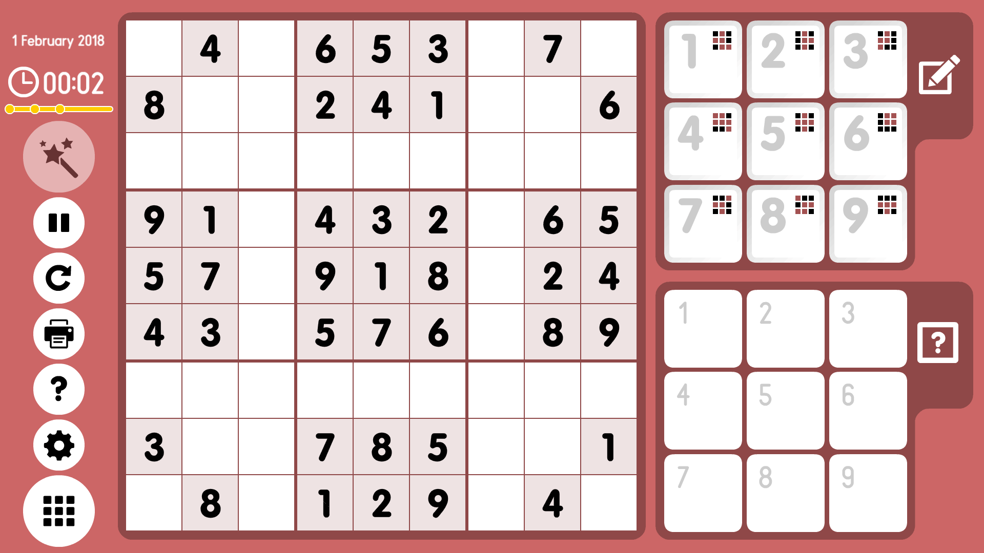 Level 2018-02-01. Online Sudoku