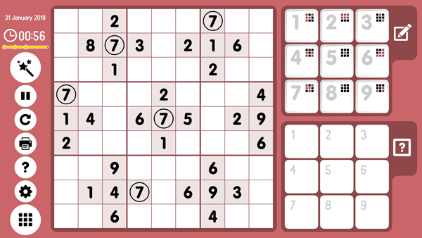 Online Sudoku Screenshot. Method of Intersections