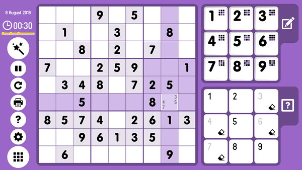 Sudoku Screenshot. Method of Exclusions